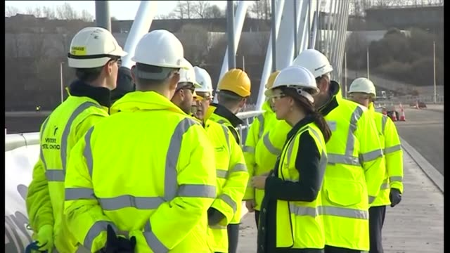 Duke and Duchess of Cambridge visit Northern Spire Bridge Duke and Duchess of Cambridge from car wearing hard hats safety glasses and high viz vests...