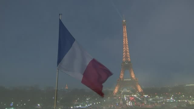 Duke and Duchess of Cambridge visit Paris Prince William comments on Brexit EXT French flag tricolour flying from falgpole Long shot of Eiffel Tower