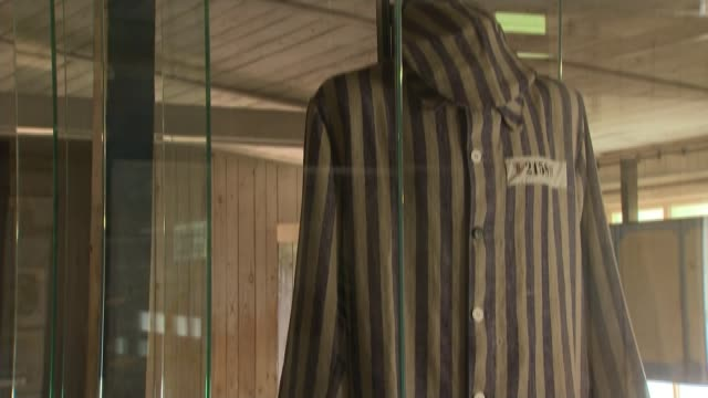 duke and duchess of cambridge visit stutthof concentration camp stutthof concentration camp int pow uniform displayed in exhibition case at stutthof... - konzentrationslager stock-videos und b-roll-filmmaterial