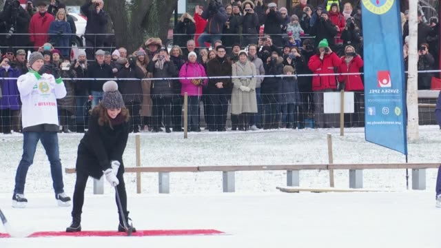 Duke and Duchess of Cambridge visit SWEDEN EXT Catherine Duchess of Cambridge and Prince William Duke of Cambridge as greet hockey players Prince...