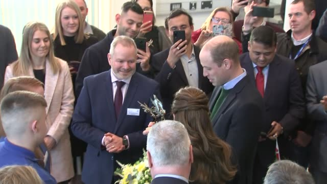 duke and duchess of cambridge visit tata steel plant in south wales wales port talbot int prince william duke of cambridge and catherine duchess of... - wales stock videos & royalty-free footage