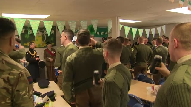 Duke and Duchess of Cambridge visit the 1st Battalion Irish Guards at the St Patrick's Day Parade ENGLAND London Hounslow Cavalry Barracks INT...