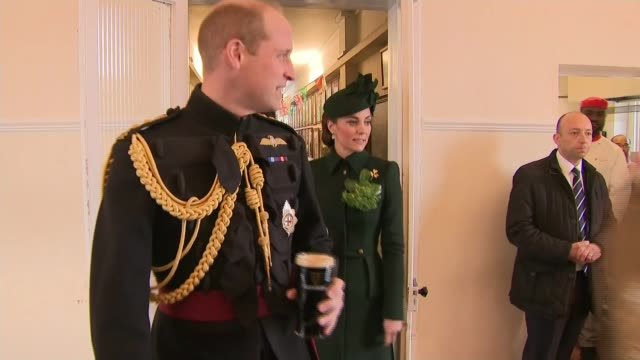 Duke and Duchess of Cambridge visit the 1st Battalion Irish Guards at the St Patrick's Day Parade ENGLAND London Hounslow Cavalry Barracks EXT...