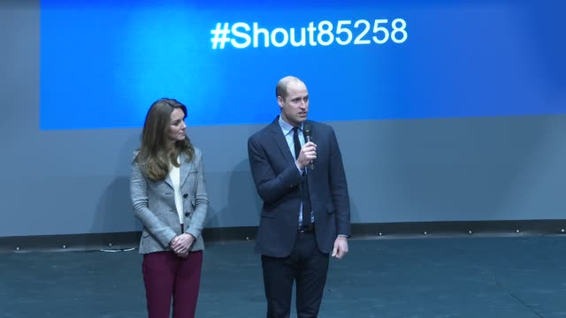 duke and duchess of cambridge visit troubadour theatre; england: london: white city: troubadour theatre: int prince william, duke of cambridge speech... - britisches königshaus stock-videos und b-roll-filmmaterial