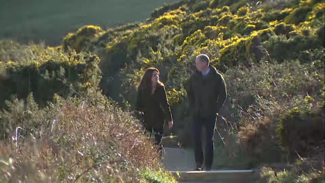 duke and duchess of cambridge walk along cliff path on visit to howth in ireland - cliff stock videos & royalty-free footage