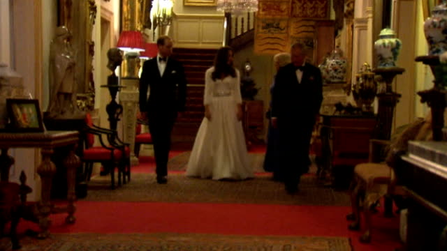 day after events 2942011 clarence house int duke of cambridge and catherine duchess of cambridge down hallway with prince charles and camilla duchess... - herzogin stock-videos und b-roll-filmmaterial