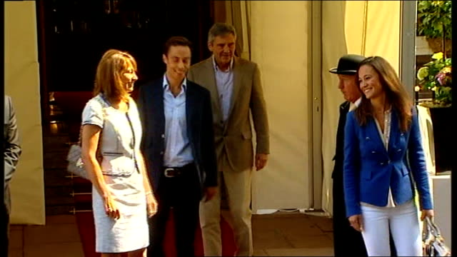 day after events goring hotel photography** middleton family leave goring hotel and stand outside for photocall carole middleton and michael... - time of day stock videos and b-roll footage