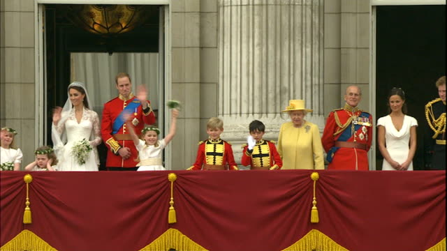 day after events lib buckingham palace ext duke and duchess of cambridge waving from balcony of buckingham palace on their wedding day bridesmaid... - bridesmaid stock videos and b-roll footage