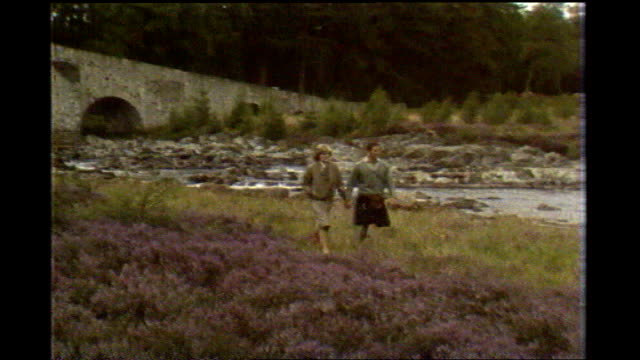 privacy issue lib scotland balmoral prince charles and diana princess of wales photocall walking through heather and standing together by the river... - honeymoon stock videos & royalty-free footage