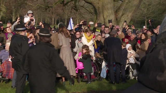 duke and duchess of cambridge with prince george and princess charlotte go on walkabout after sandringham christmas day church service and greet... - cute stock videos & royalty-free footage