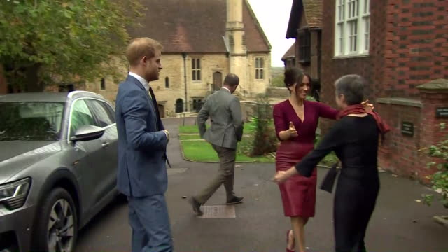 duke and duchess of sussex arrive at meeting of the queen's commonwealth trust in electric car - prince harry stock videos & royalty-free footage