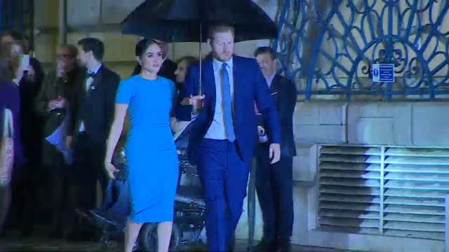 duke and duchess of sussex arrive at the endeavour awards in london, one of their last official royal engagements - award stock videos & royalty-free footage