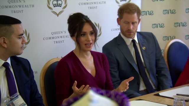 duke and duchess of sussex at meeting for queen's commonwealth trust, meghan talks aboit needing men to be party of the conversation for female... - husband stock videos & royalty-free footage