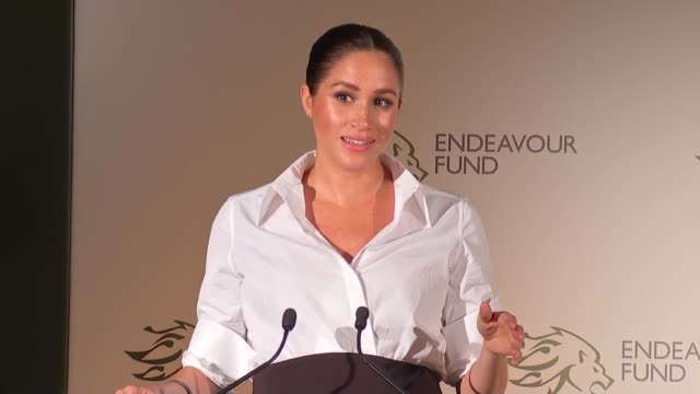 duke and duchess of sussex attend endeavour fund awards speeches awards announced england london draper's hall music*** ross kemp introducing duchess... - shirt stock videos & royalty-free footage