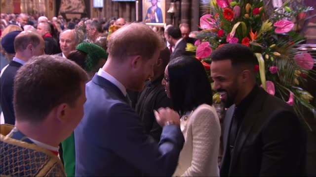 duke and duchess of sussex attend final public engagement as senior royals; england: london: westminster: westminster abbey: int side view prince... - royalty stock videos & royalty-free footage