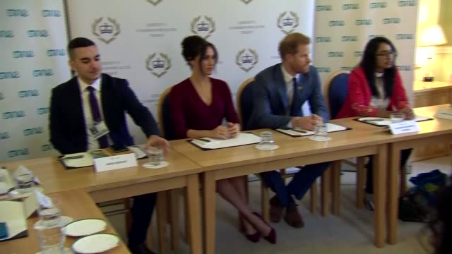 duke and duchess of sussex attend roundtable discussion on gender inequality england berkshire windsor windsor castle int various of prince harry... - round table discussion stock videos & royalty-free footage