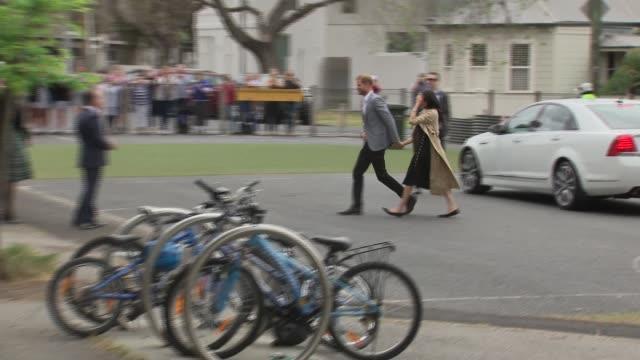 Duke and Duchess of Sussex Australia tour Albert Park Primary School visit AUSTRALIA Victoria Melbourne Albert Park Primary School EXT Prince Harry...