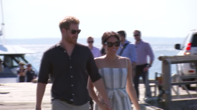 duke and duchess of sussex australia tour fraser island visit australia queensland fraser island car along onto kingfisher bay jetty / prince harry... - harry meghan tour stock videos and b-roll footage