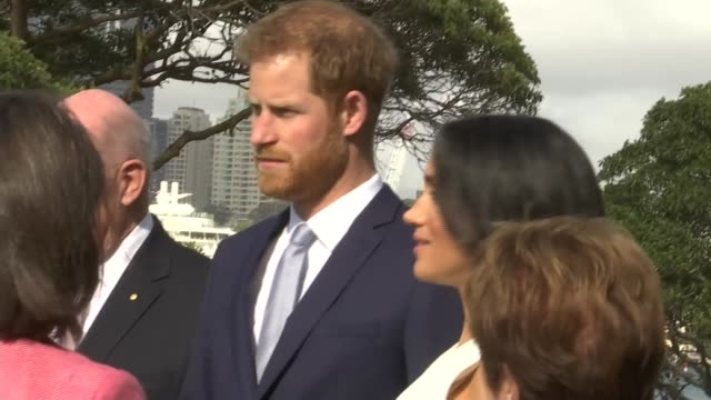 duke and duchess of sussex australia tour greeted by sir peter cosgrove and lady cosgrove at admiralty house australia sydney admiralty house ext... - harry meghan tour stock videos and b-roll footage