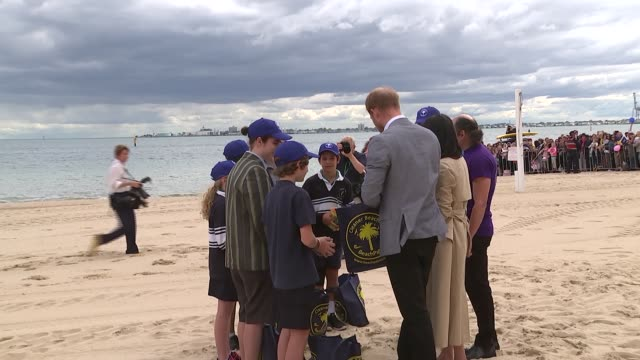 duke and duchess of sussex australia tour melbourne tram ride and south melbourne beach australia victoria melbourne prince harry duke of sussex and... - harry meghan tour stock videos and b-roll footage