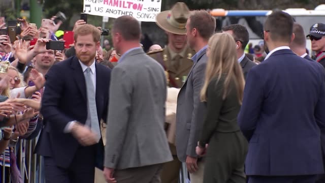 Duke and Duchess of Sussex Australia tour walkabout at Melbourne Government House AUSTRALIA Victoria Melbourne Government House Drive Various of...