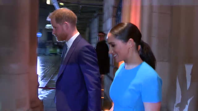 duke and duchess of sussex depart the endeavour awards in london one of their last official royal engagements - prince harry stock videos & royalty-free footage