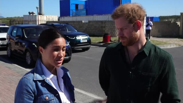 duke and duchess of sussex discuss 'global issue' of mental health as africa tour continues; south africa: ext meghan, duchess of sussex interview... - prince harry stock videos & royalty-free footage