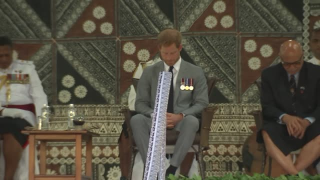 albert park welcome ceremony fiji suva albert park prince harry duke of sussex and meghan duchess of sussex seated on stage during ceremony / people... - harry meghan tour stock videos and b-roll footage