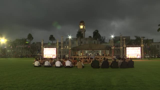 Albert Park welcome ceremony FIJI Suva Albert Park Ceremony in progress with Parliament Buildings behind / people in audience / Prince Harry Duke of...
