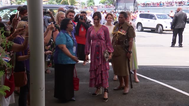 meghan visits suva market fiji suva suva municipal market meghan duchess of sussex from car and along meeting people / given flowers / into market... - meghan duchess of sussex stock videos and b-roll footage