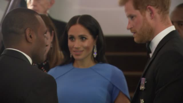 reception and banquet fiji suva photography*** prince harry duke of sussex and meghan duchess of sussex down steps arriving at reception / greeted by... - harry meghan tour stock videos and b-roll footage
