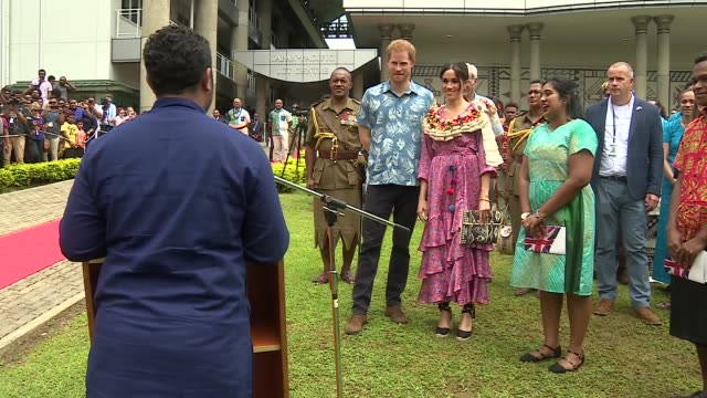 university of the south pacific visit fiji suva university of the south pacific prince harry duke of sussex and meghan duchess of sussex along /... - meghan duchess of sussex stock videos and b-roll footage