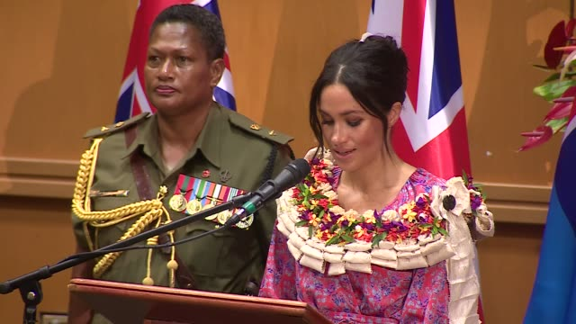 university of the south pacific visit fiji suva university of the south pacific meghan duchess of sussex up to lectern and speech sot meghan returns... - meghan duchess of sussex stock videos and b-roll footage
