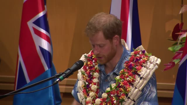 university of the south pacific visit fiji suva university of the south pacific prince harry duke of sussex speech sot harry returns to seat with... - meghan duchess of sussex stock videos and b-roll footage