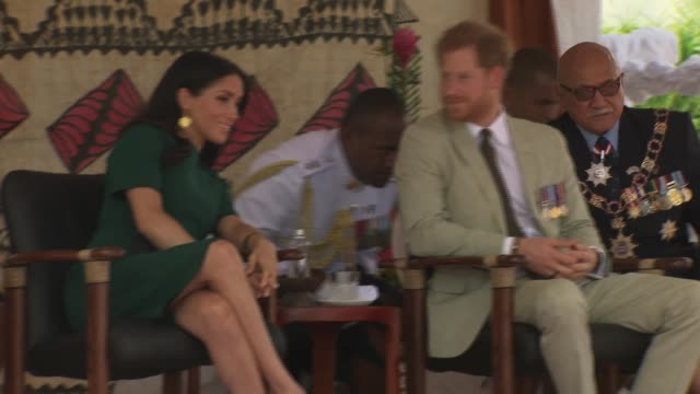 welcome ceremony and statue unveiling FIJI Nadi International Airport Prince Harry Duke of Sussex Meghan Duchess of Sussex and Jioji Konrote on...