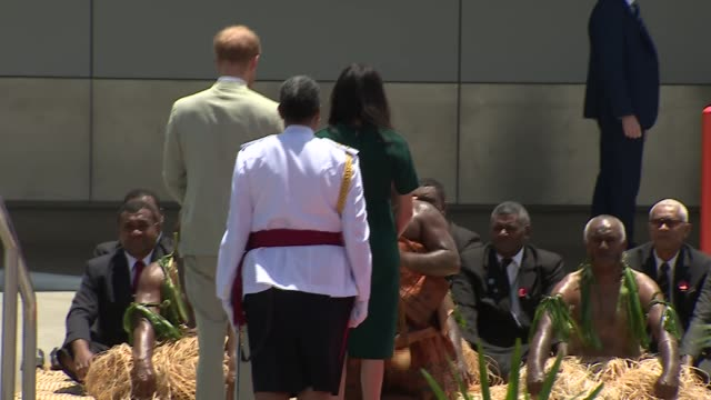 welcome ceremony and statue unveiling FIJI Nadi International Airport Motorcade along / Prince Harry Duke of Sussex and Meghan Duchess of Sussex from...