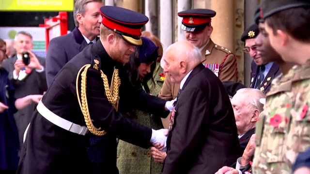 duke and duchess of sussex greeting veterans at 91st field of remembrance event at westminster abbey - armed forces stock videos & royalty-free footage