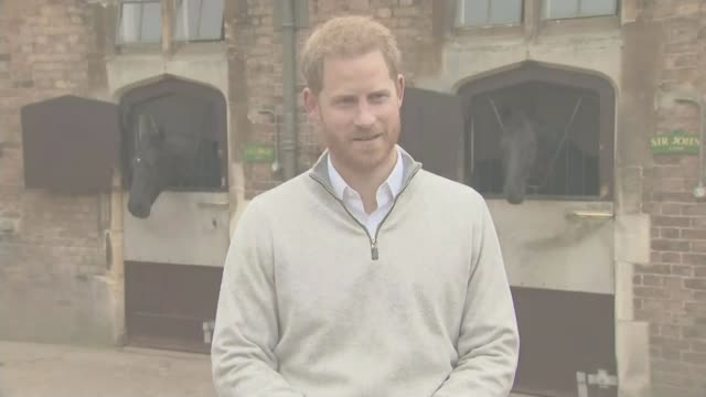 Duke and Duchess of Sussex have a baby son ENGLAND Berkshire Windsor EXT Prince Harry Duke of Sussex along by stables Prince Harry Duke of Sussex...