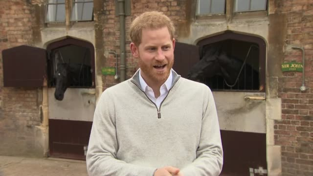 Duke and Duchess of Sussex have a baby son Prince Harry reaction ENGLAND Berkshire Windsor Windsor Castle EXT Prince Harry Duke of Sussex along and...