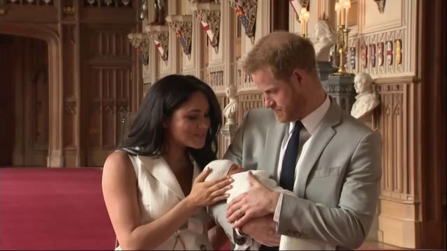 Duke and Duchess of Sussex have a baby son Reaction of students at Nottingham Academy ENGLAND Berkshire Windsor Windsor Castle St George's Hall INT...