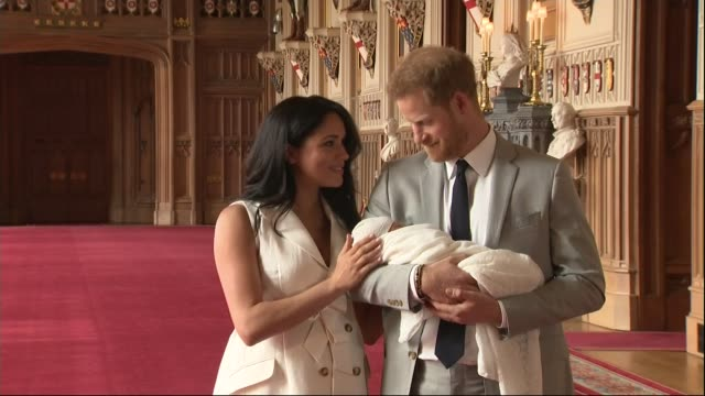 Duke and Duchess of Sussex have a baby son Windsor Castle photocall / name announced ENGLAND Berkshire Windsor Windsor Castle St George's Hall...