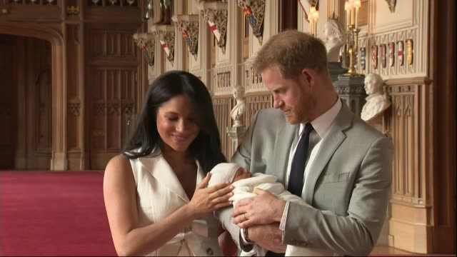 Duke and Duchess of Sussex have a baby son Windsor Castle photocall / name announced ENGLAND Windsor Windsor Castle INT Prince Harry Duke of Sussex...