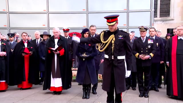 duke and duchess of sussex lay a cross of remembrance as they attend the 91st field of remembrance at westminster abbey - monument stock videos & royalty-free footage