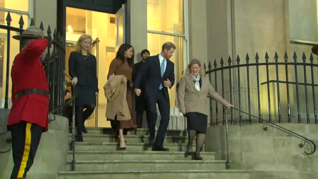 "duke and duchess of sussex leave canada house, london, after their visit to thank them for the hospitality shown to them during their festive break... - ""bbc news"" stock videos & royalty-free footage"