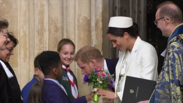 duke and duchess of sussex leave westminster abbey after the commonwealth day service - british empire stock videos & royalty-free footage