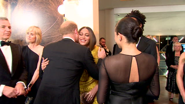 duke and duchess of sussex meet beyonce and jayz at lion king premiere at leicester square - beyoncé knowles stock videos & royalty-free footage