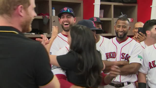 duke and duchess of sussex meet boston red sox baseball team including mook betts who tells meghan he is a distant relative of hers london olympic... - duke of sussex stock videos and b-roll footage