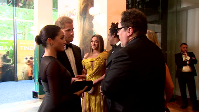 duke and duchess of sussex meet jon favreau at lion king premiere at leicester square - duke and duchess of sussex stock videos and b-roll footage