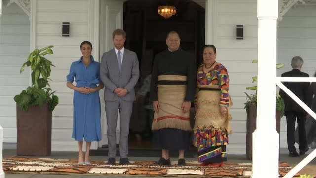 duke and duchess of sussex meet king tupou vi and queen nanasipau'u in tonga - south pacific ocean stock videos & royalty-free footage