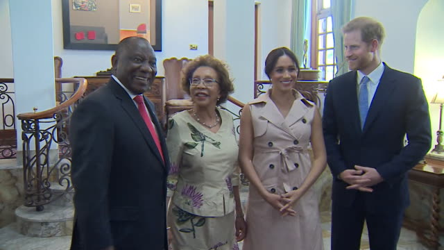 duke and duchess of sussex meet south african president cyril ramaphosa and his wife tshepo motsepe in pretoria during their tour of africa - harry meghan tour stock videos and b-roll footage